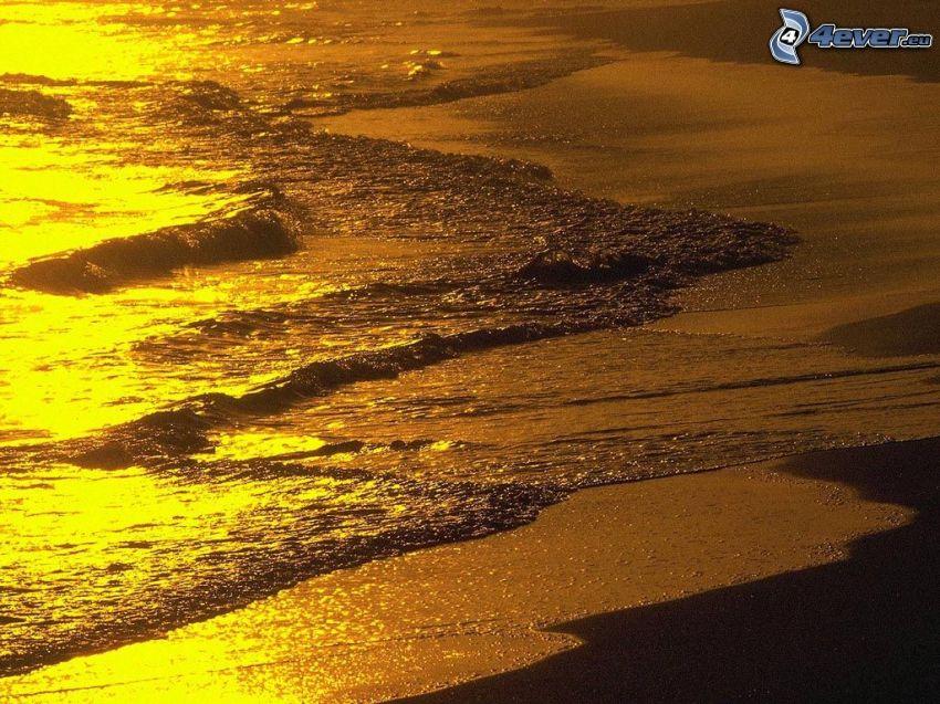 tengerpart naplementekor, tenger