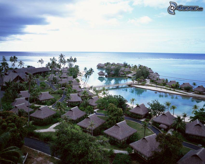 tengerparti nyaralók, Tahiti, strand, tenger, pálmafák