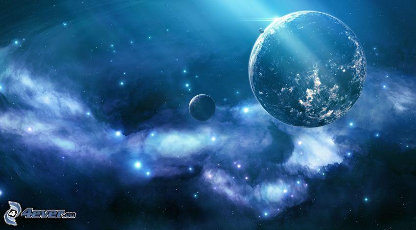 bolygók, ködfátylak, csillagok