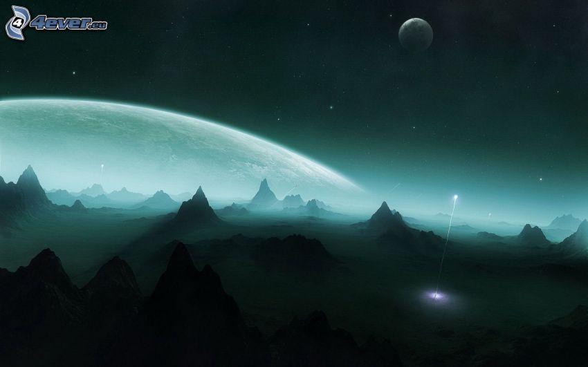 éjszaka, bolygó, hegyek