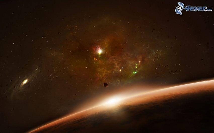 Föld, hold, napkelte, galaxisok