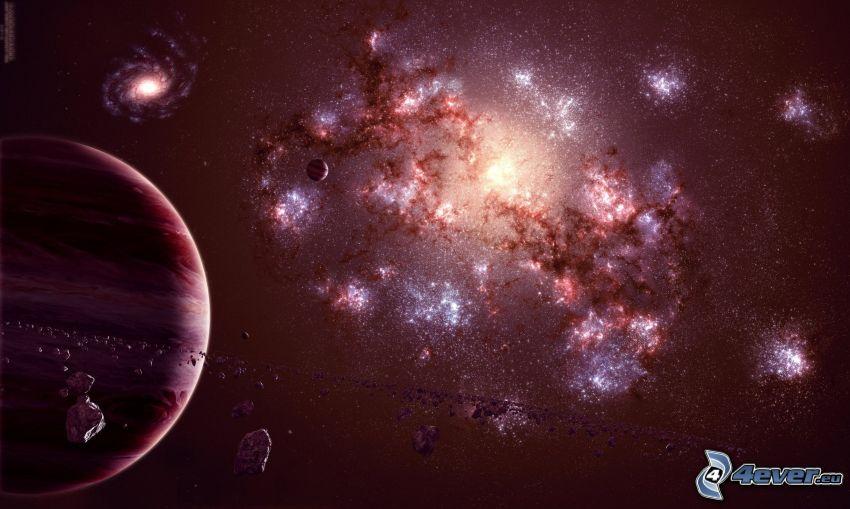 ködfátylak, csillagok, bolygók