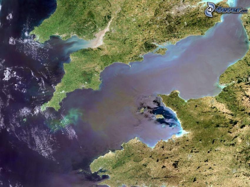 La Manche csatorna, Atlanti-óceán, műholdas képek, Anglia, Franciaország, Föld