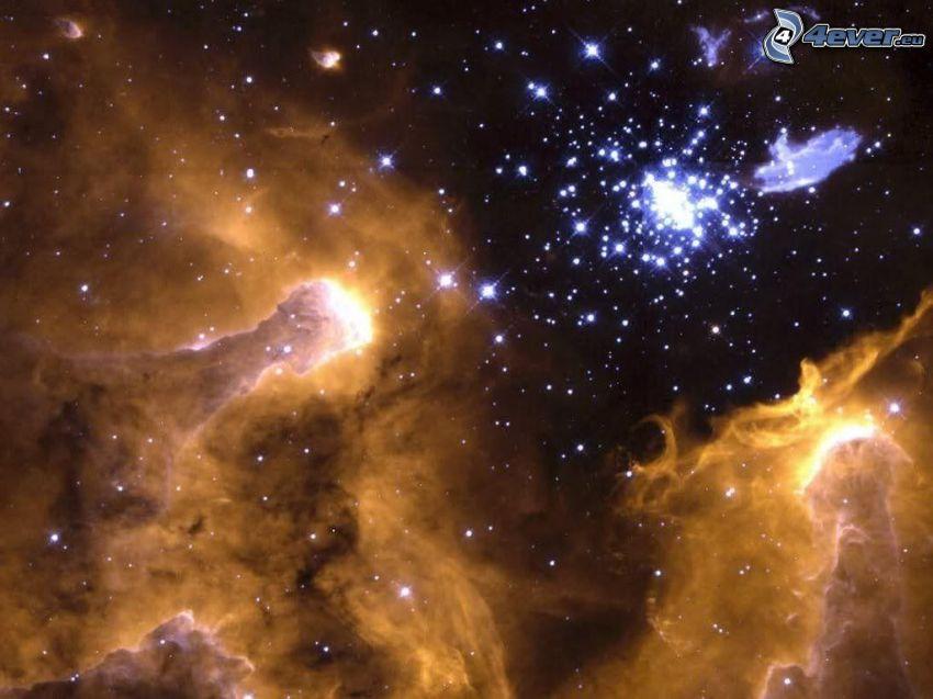 mély űr, ködfátylak, csillagok