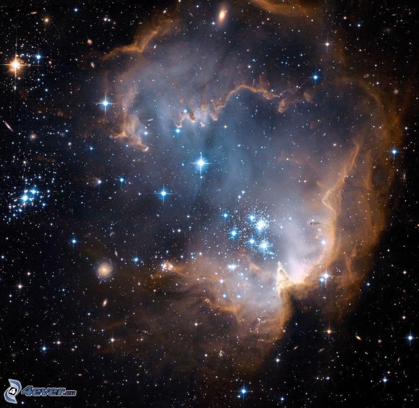 NGC 602, ködfátyol, csillagok