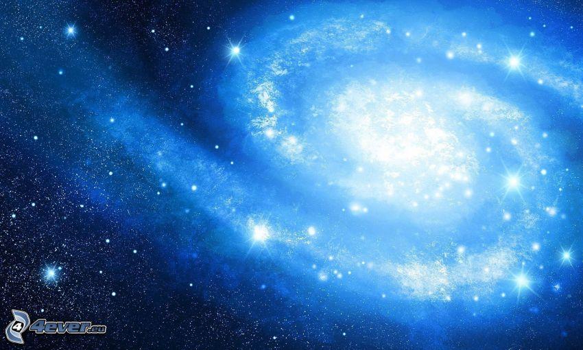 spirálgalaxis, csillagok, kék háttér