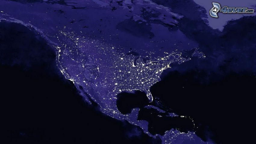 USA, műholdas képek, éjszaka, Föld