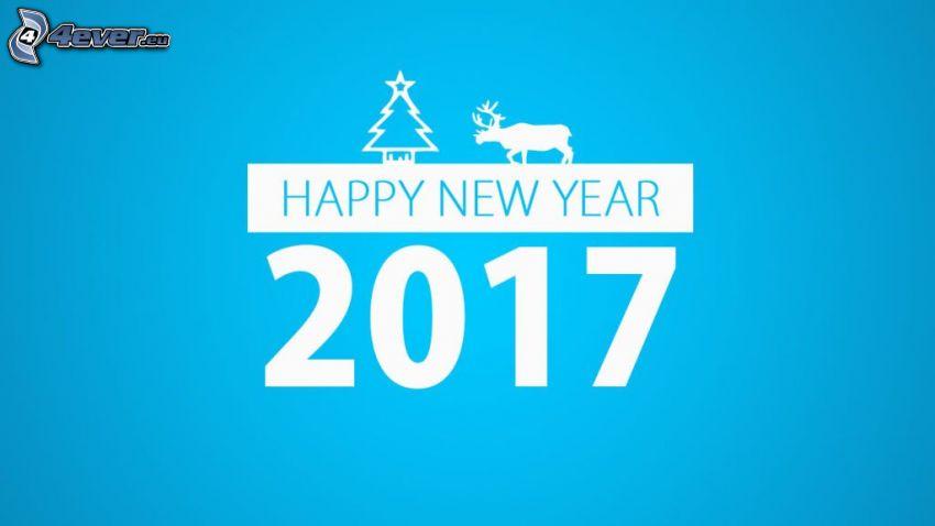 2017, boldog új évet, happy new year, rénszarvas, karácsonyfa