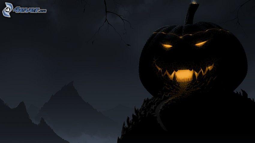 halloweeni töklámpás, éjszaka, dombok
