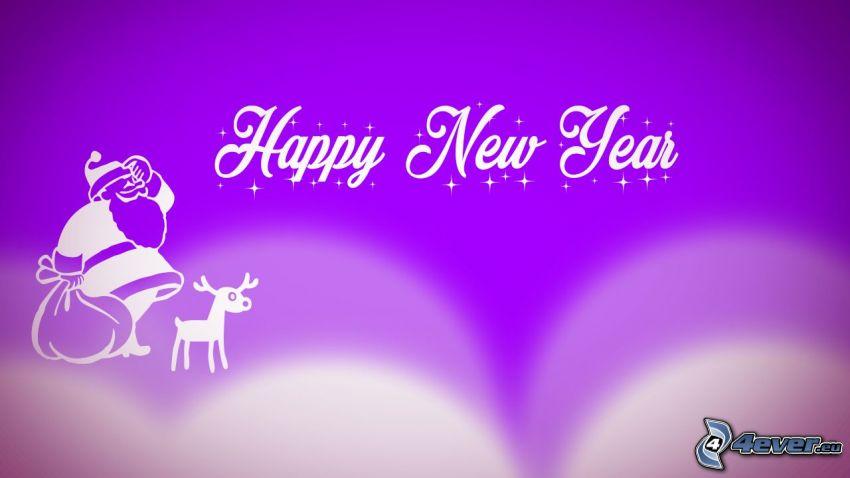 happy new year, boldog új évet, Santa Claus, rénszarvas, lila háttér