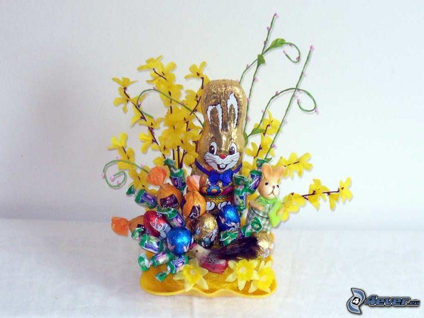 húsvéti nyuszi, édességek, aranyeső