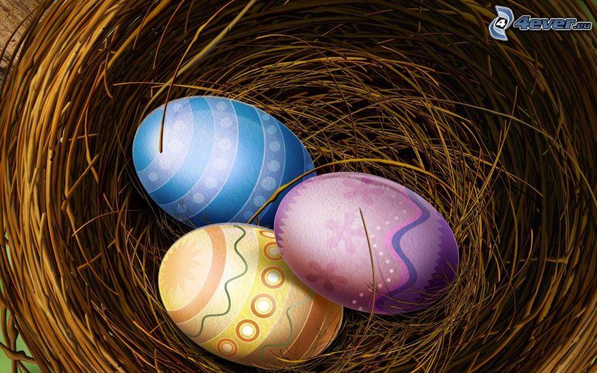 húsvéti tojások, fészek