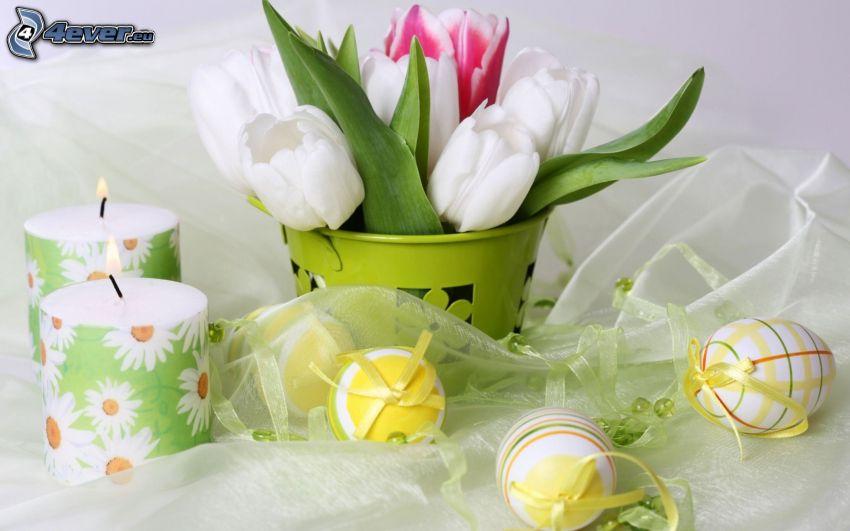 húsvéti tojások, gyertyák, tulipánok