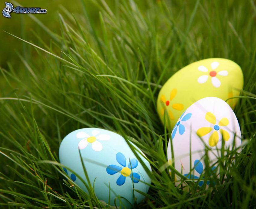 húsvéti tojások a fűben