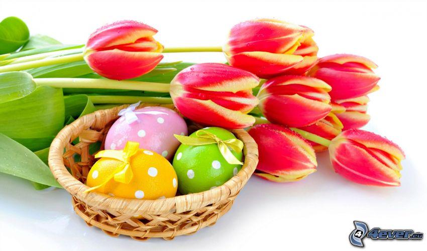 tulipánok, húsvéti tojások