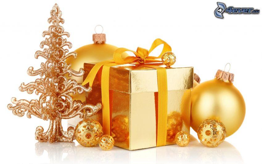 ajándék, gömb karácsonyfadísz, karácsonyfa