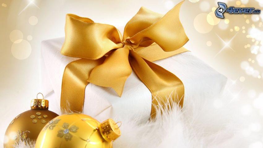 ajándék, karácsonyi gömbdíszek