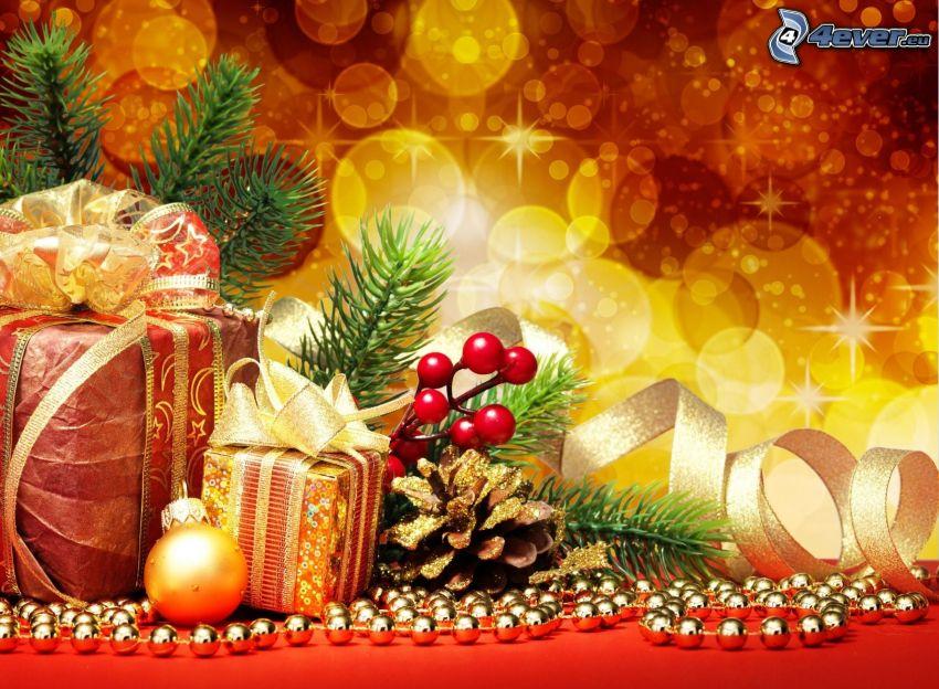ajándékok, gömb karácsonyfadísz, fánk