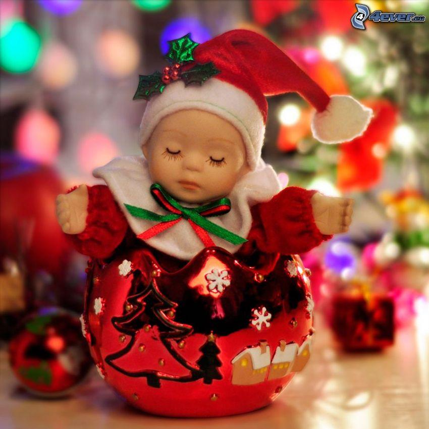 baba, gömb karácsonyfadísz, karácsonyfa, alvás