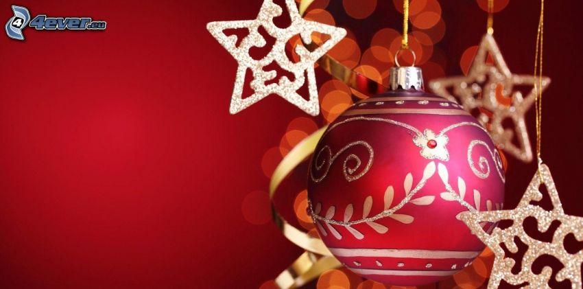 gömb karácsonyfadísz, csillagok