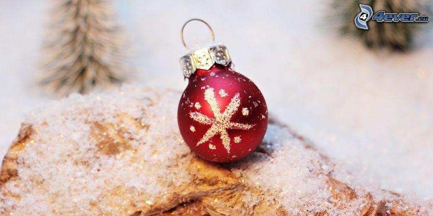 gömb karácsonyfadísz, hó