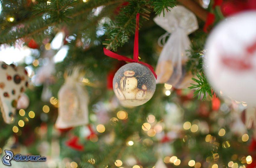 gömb karácsonyfadísz, karácsonyfa