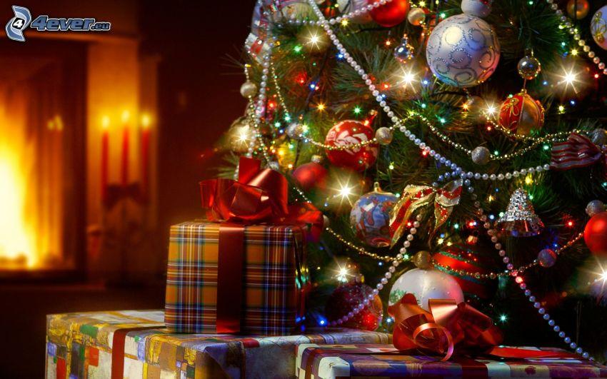 karácsonyfa, ajándékok