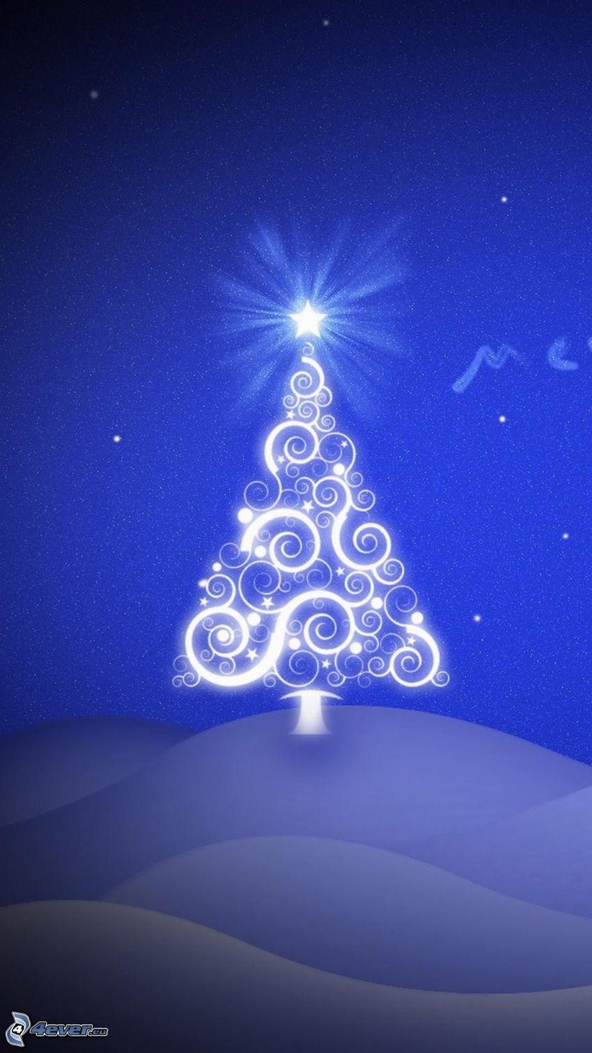 karácsonyfa, csillag, kék háttér