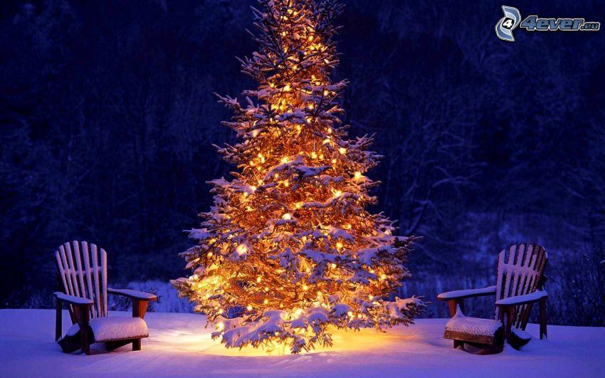 karácsonyfa, fotelek, havas táj, éjszaka