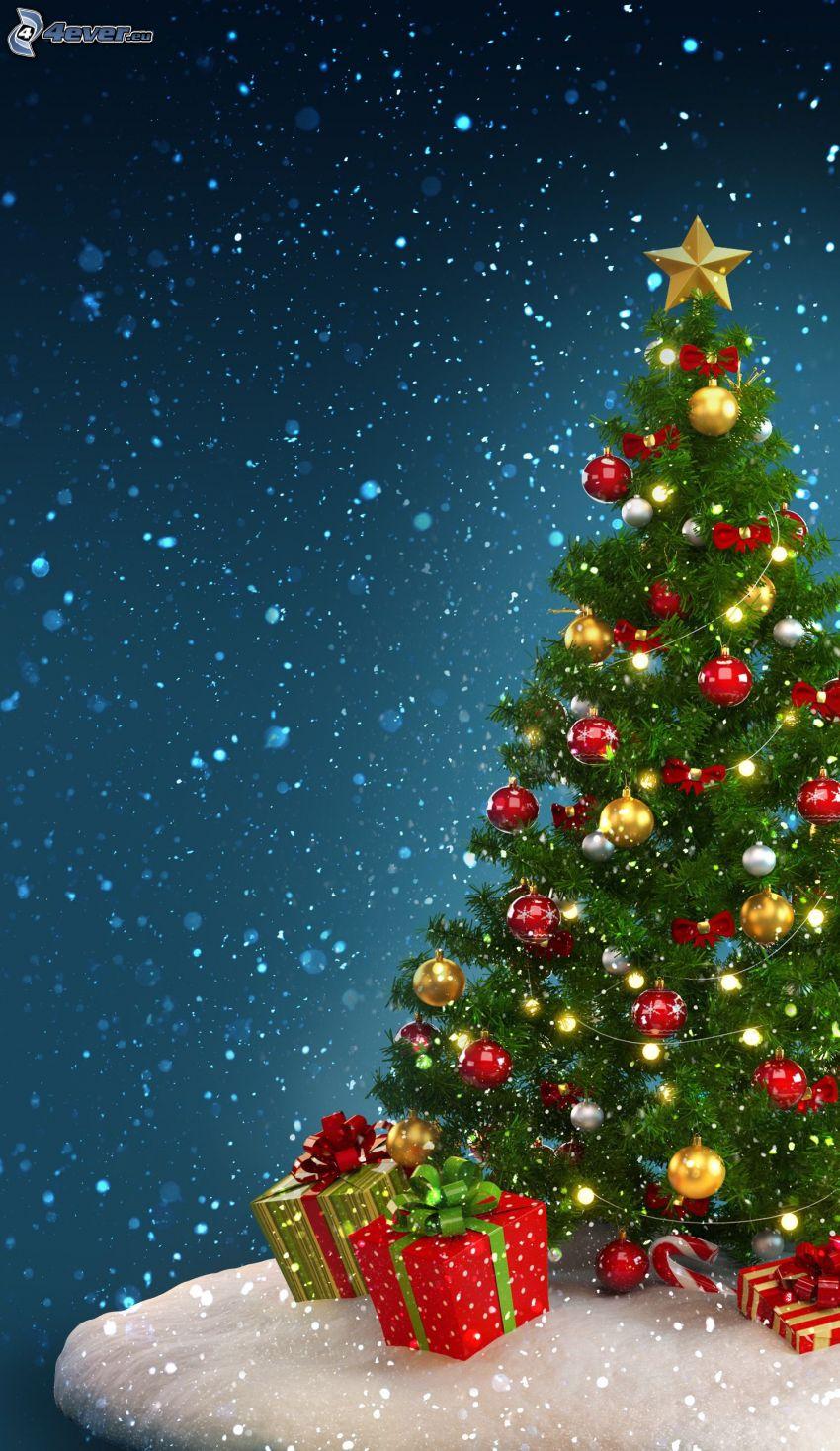 karácsonyfa, karácsonyi gömbdíszek, ajándékok, hóesés, rajzolt