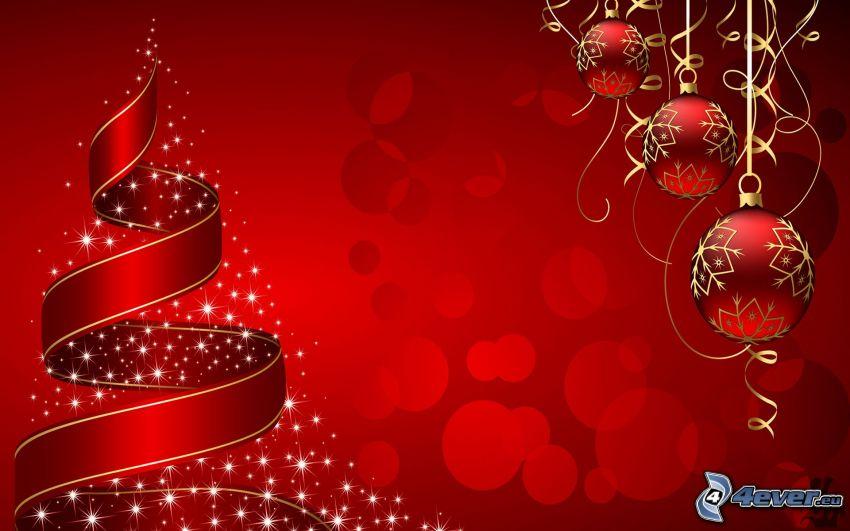 karácsonyfa, karácsonyi gömbdíszek, piros háttér
