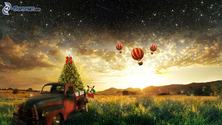 karácsonyfa, régi autó, lufik, csillagos égbolt, napsugarak, felhők, rét