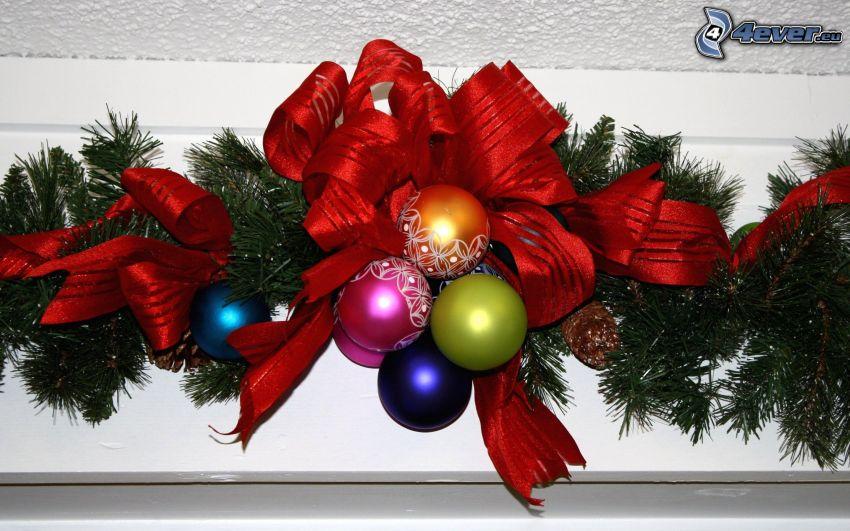 karácsonyi dekoráció, karácsonyi gömbdíszek