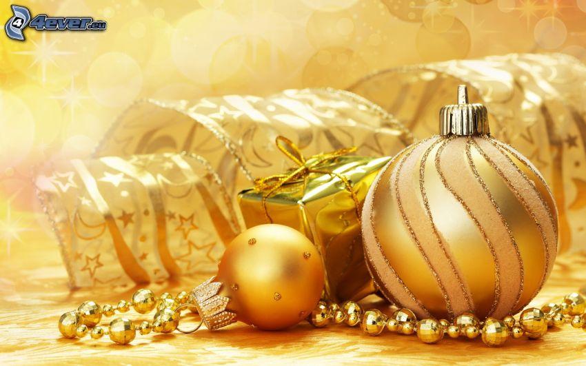 karácsonyi gömbdíszek, ajándék, szalag