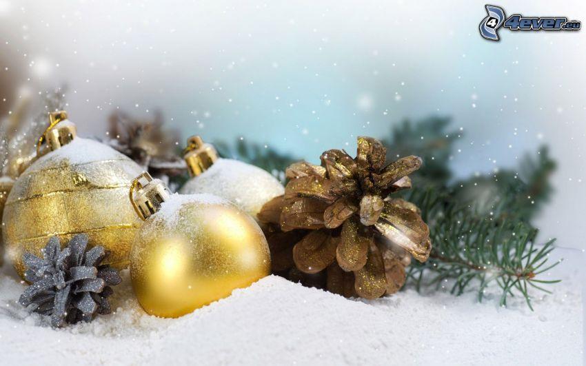 karácsonyi gömbdíszek, fánk, hó