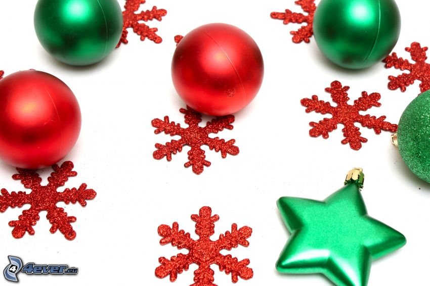 karácsonyi gömbdíszek, hópelyhek