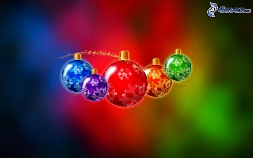 karácsonyi gömbdíszek, rajzolt