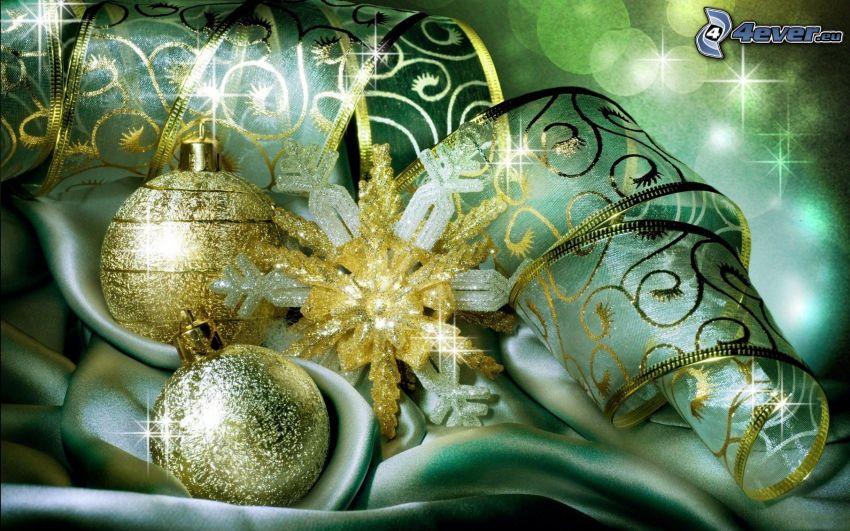 karácsonyi gömbdíszek, szalag