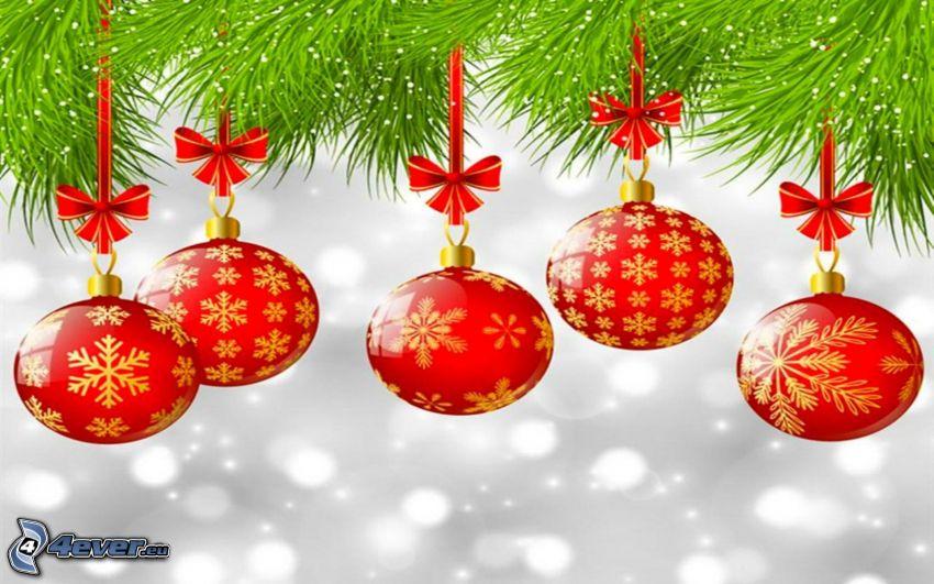 karácsonyi gömbdíszek, tűlevelű ágak