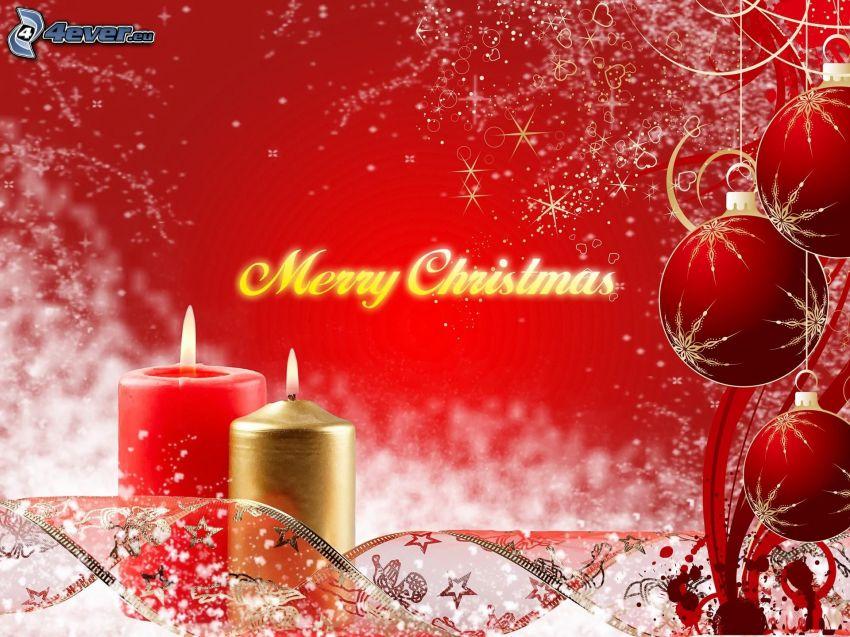 Merry Christmas, gyertyák, karácsonyi gömbdíszek, piros háttér