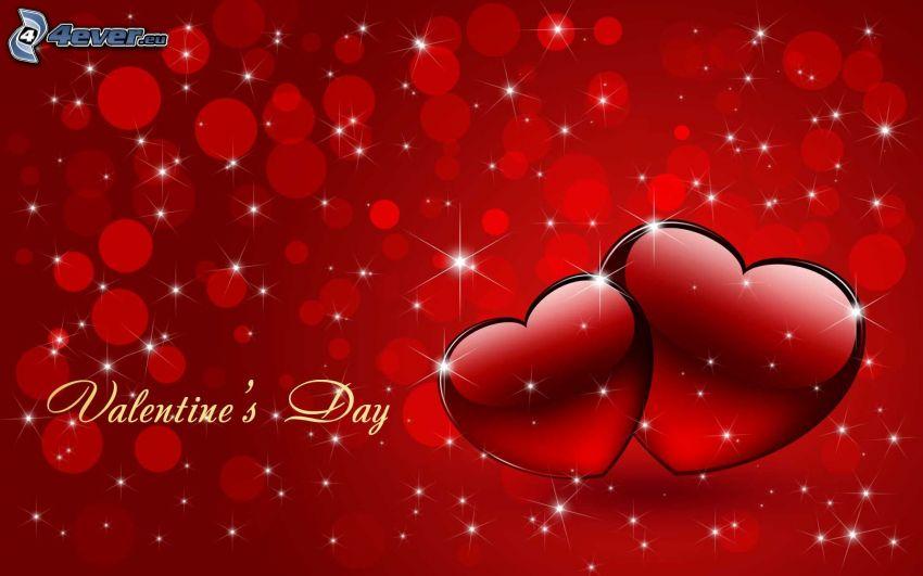 valentin, bálint-napi piros szívek