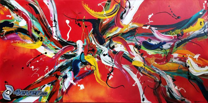 kolorowe kleksy, kolory, czerwone tło