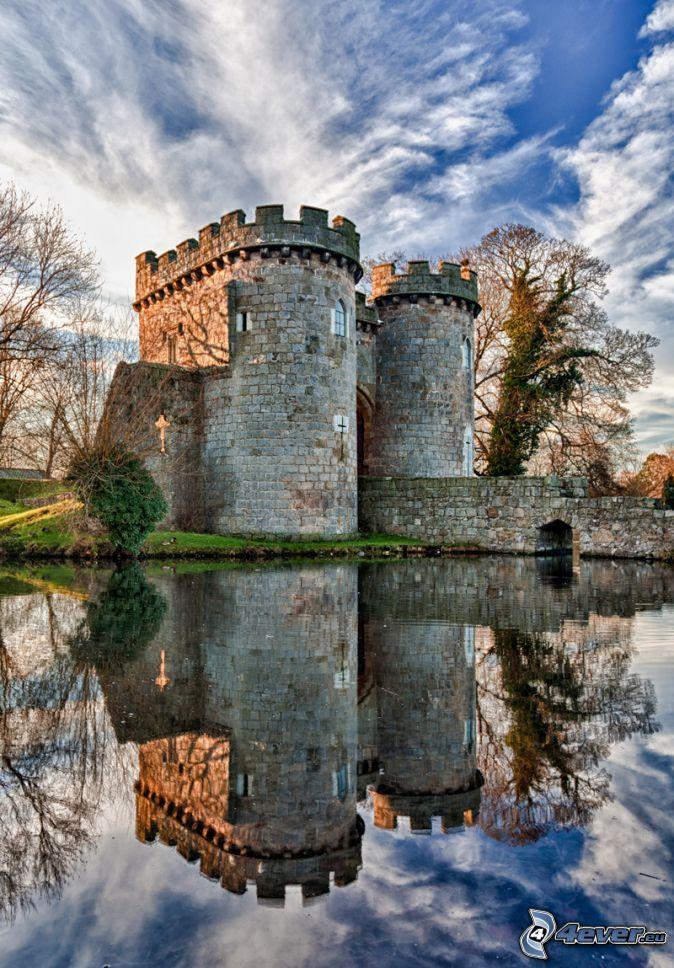Zamek Ross, rzeka, odbicie, HDR