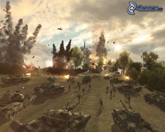 World in Conflict, eksplozja, strzelanie, czołgi