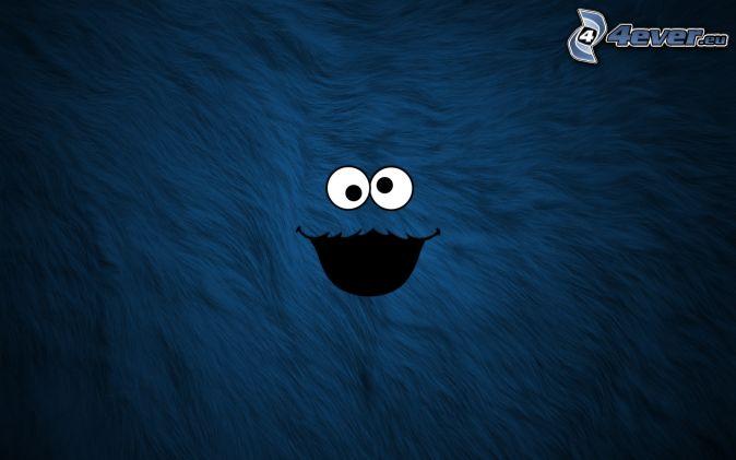 buźki, oczy, niebieskie tło