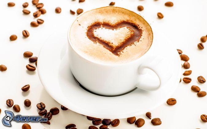 cappuccino, piana, serduszko, ziarna kawy