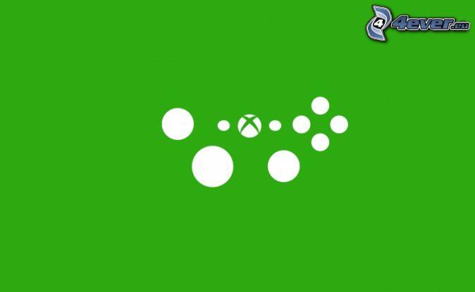 Xbox, koła, zielone tło