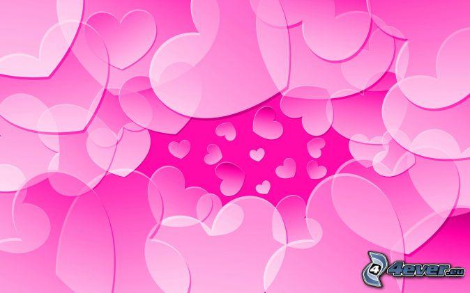 różowe serduszka