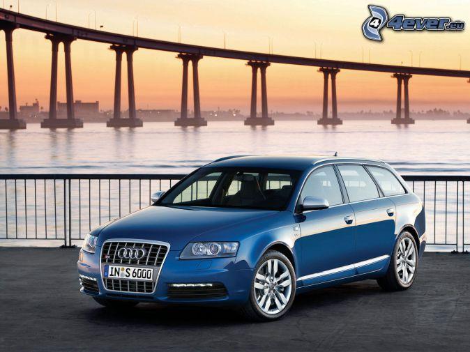 Audi S6, most, morze