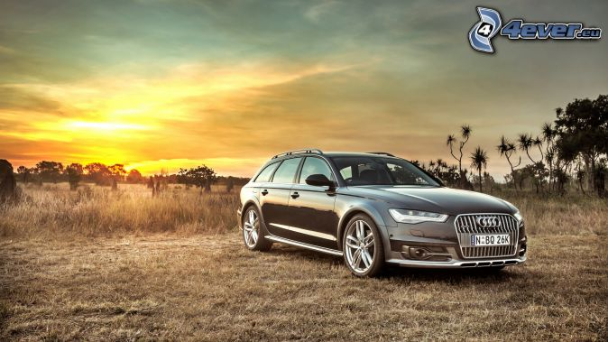 Audi S6, po zachodzie słońca, łąka